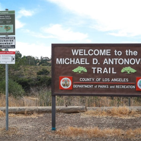 Welcome to the Michael D. Antonovich Trail sign