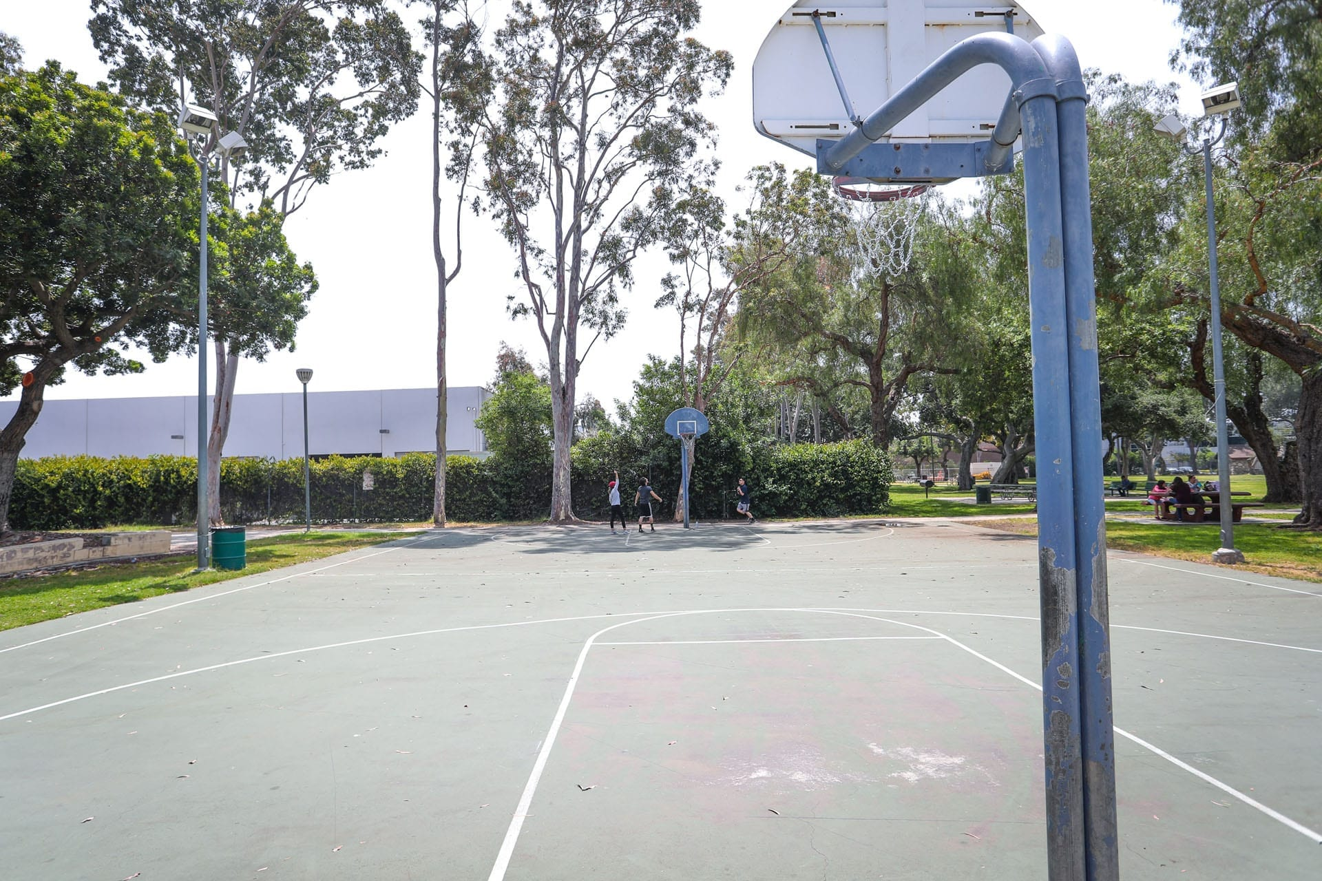 Basketball court, kids playing basketball