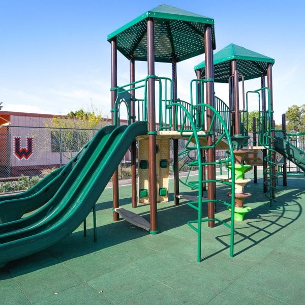 Playground on a green turf