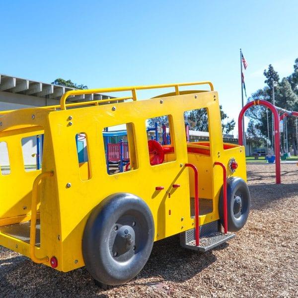 Bus shaped playground unit