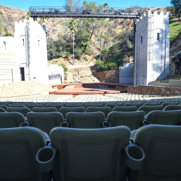 View from amphitheater seats showing cupholders