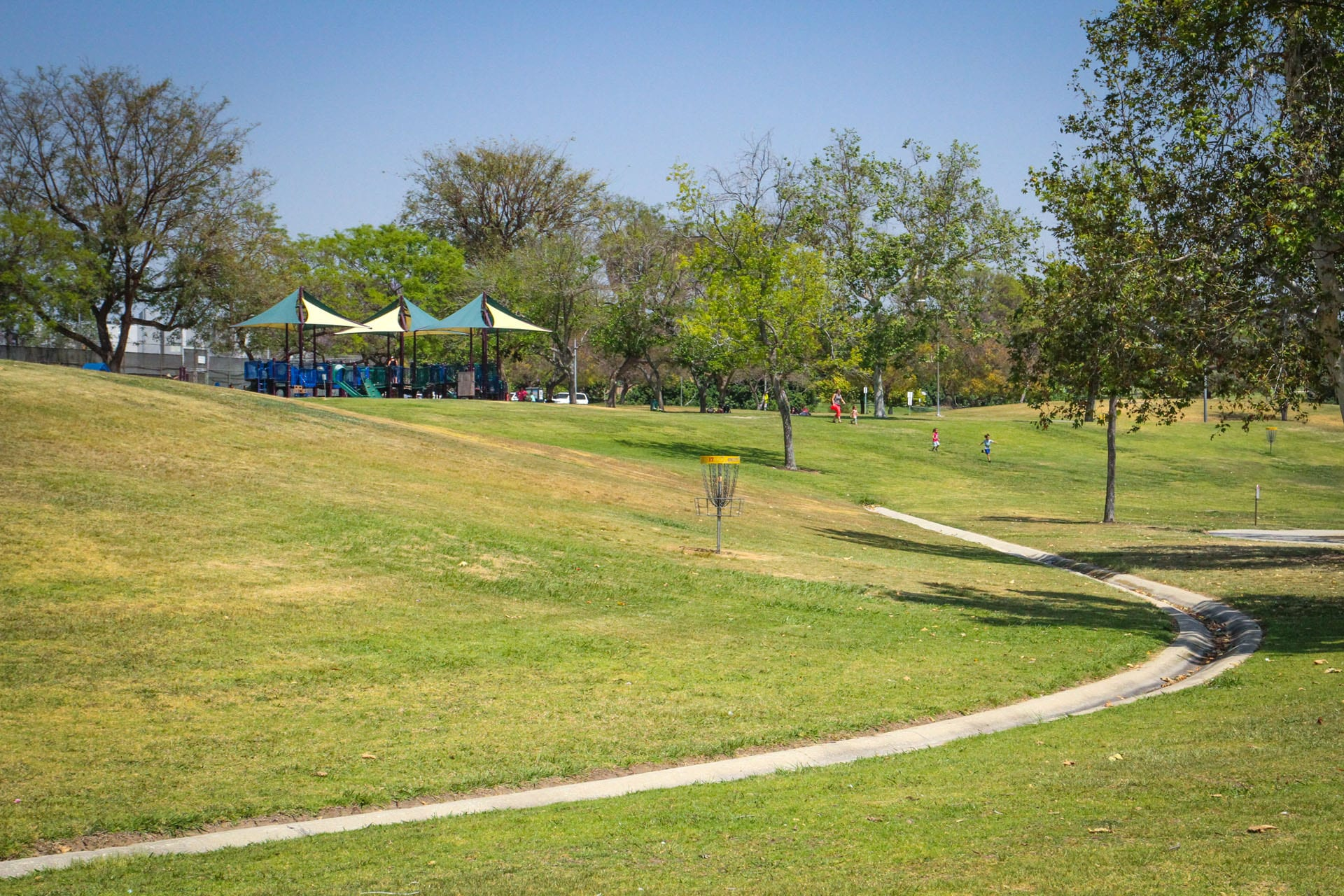 Grassy park with path and playground