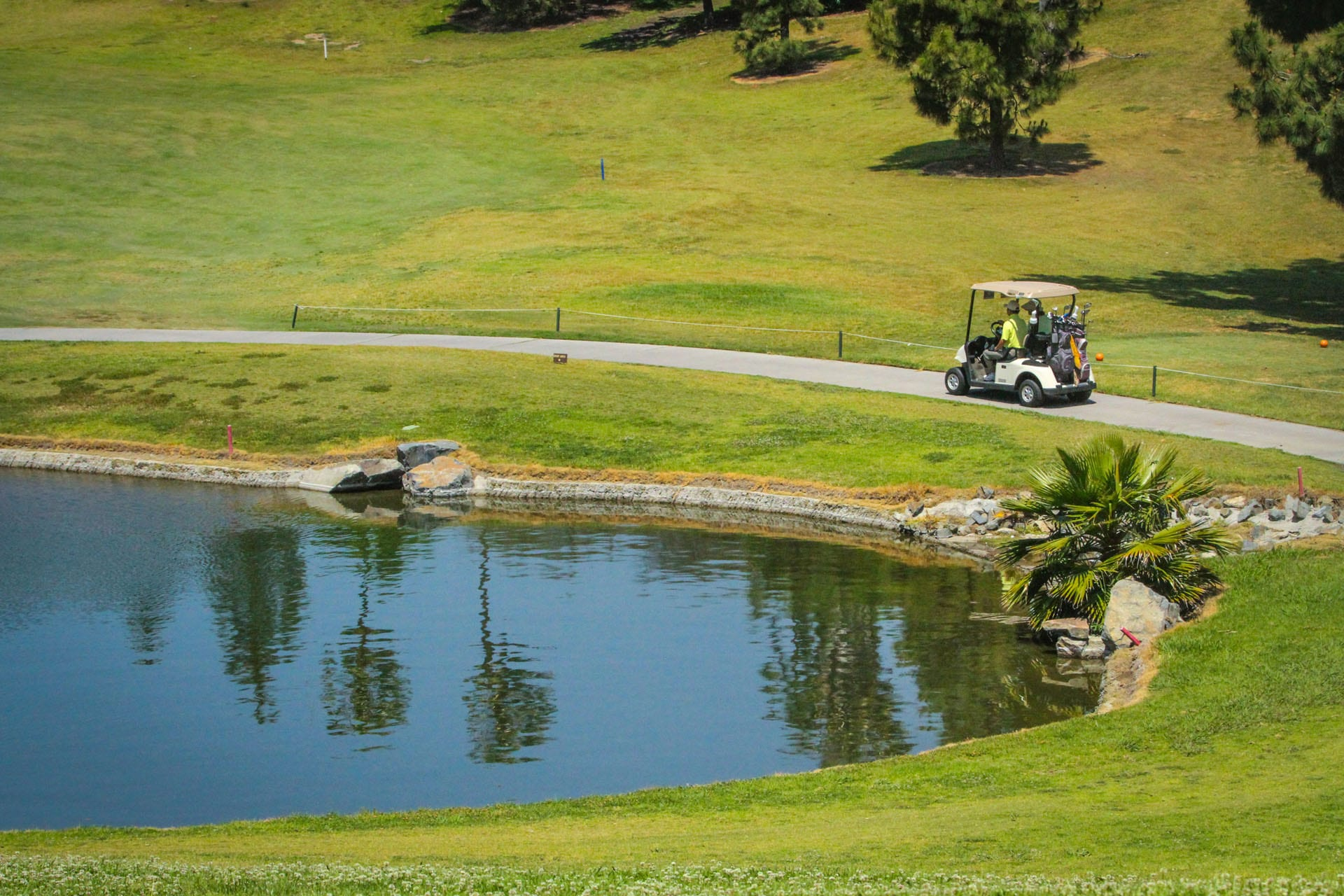 People driving a golf cart around a lake