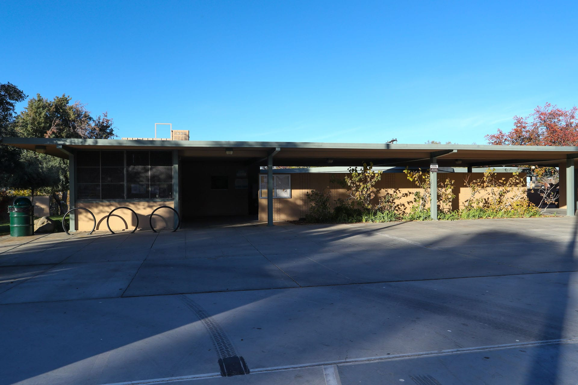 Facility with a bike rack in front