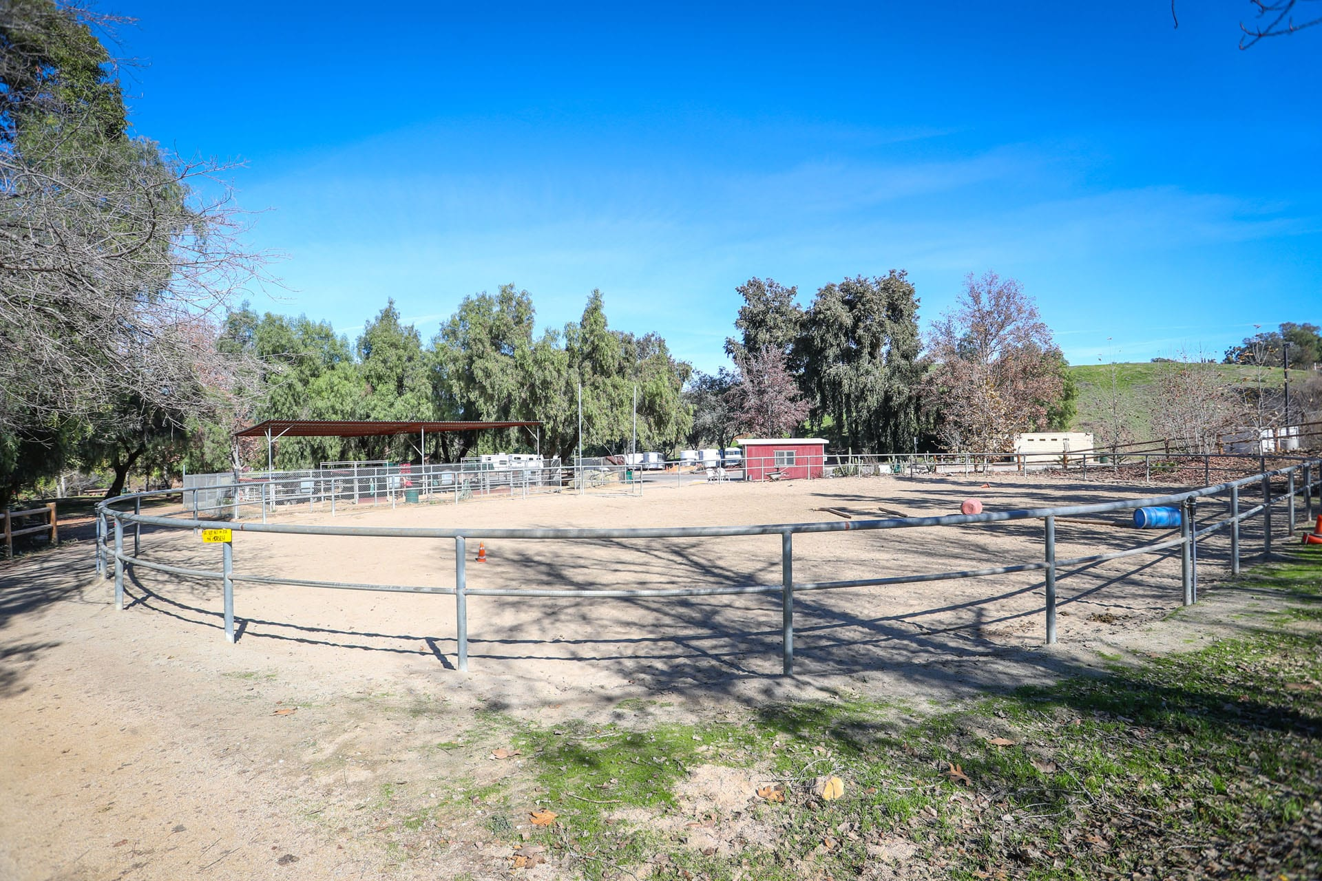 View of an equestrian center ring