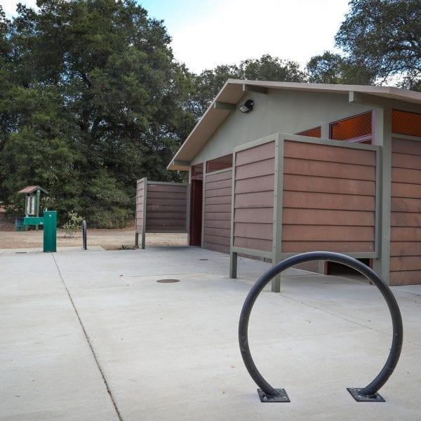 Bike racks near the restroom facility