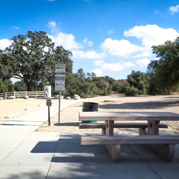 Picnic table next to a paved walkway