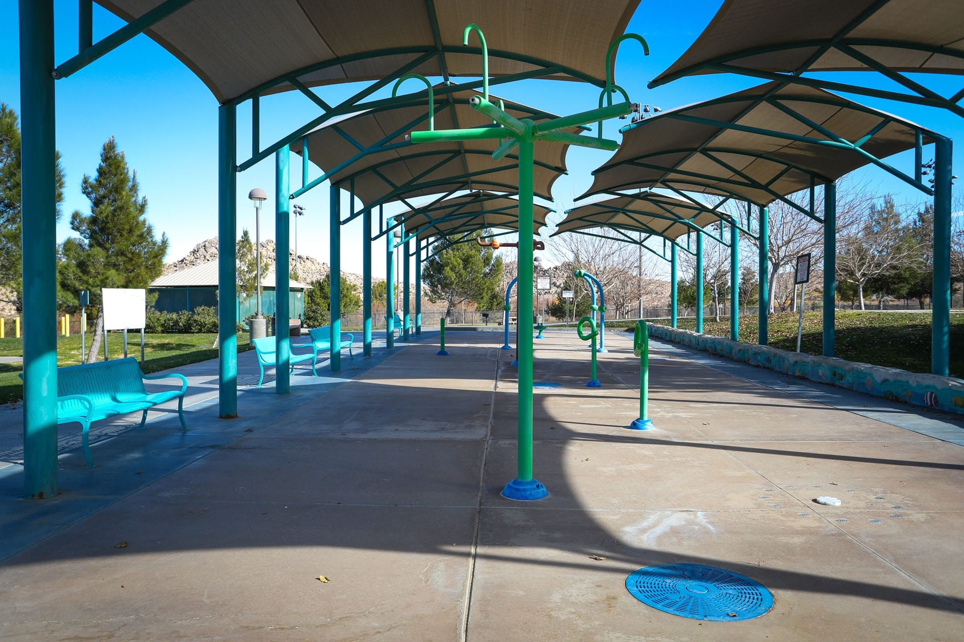 Shaded splash pads