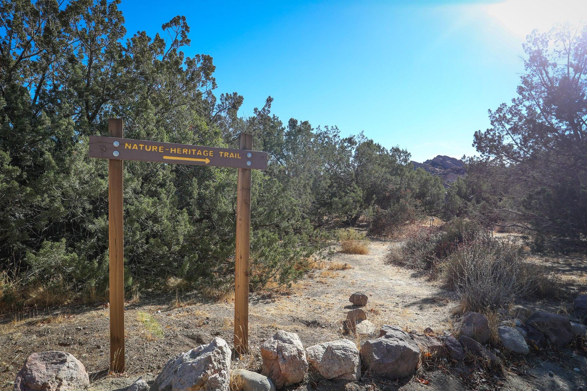 Nature Heritage Trail trailhead sign