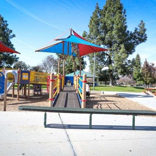 Bench, picnic tables and playground