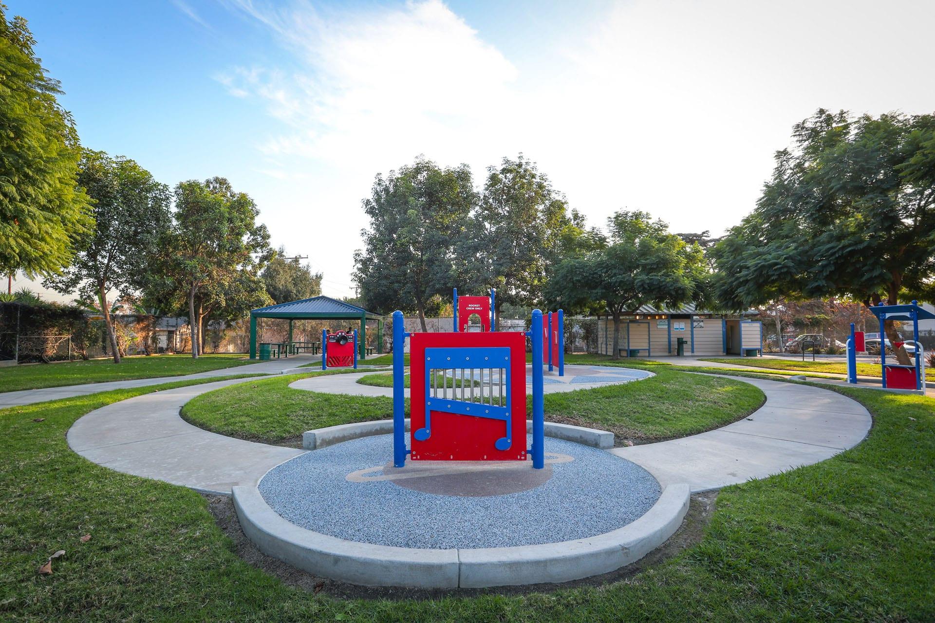 Paths running through a musical playground