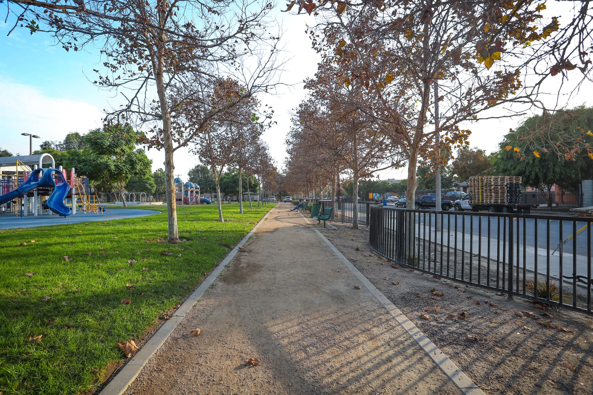 Looking down the dirt path by the playground