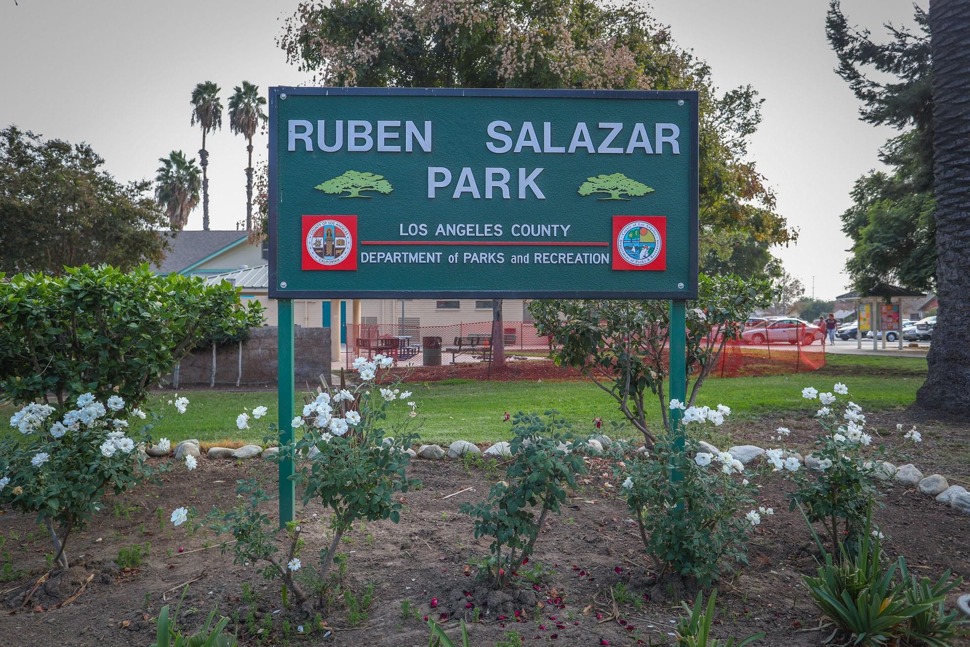 Ruben Salazar Park sign