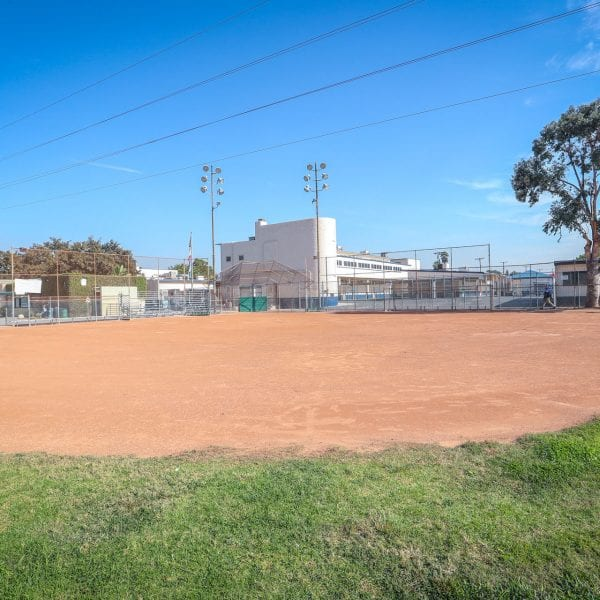 Baseball field at the edge of the dirt area