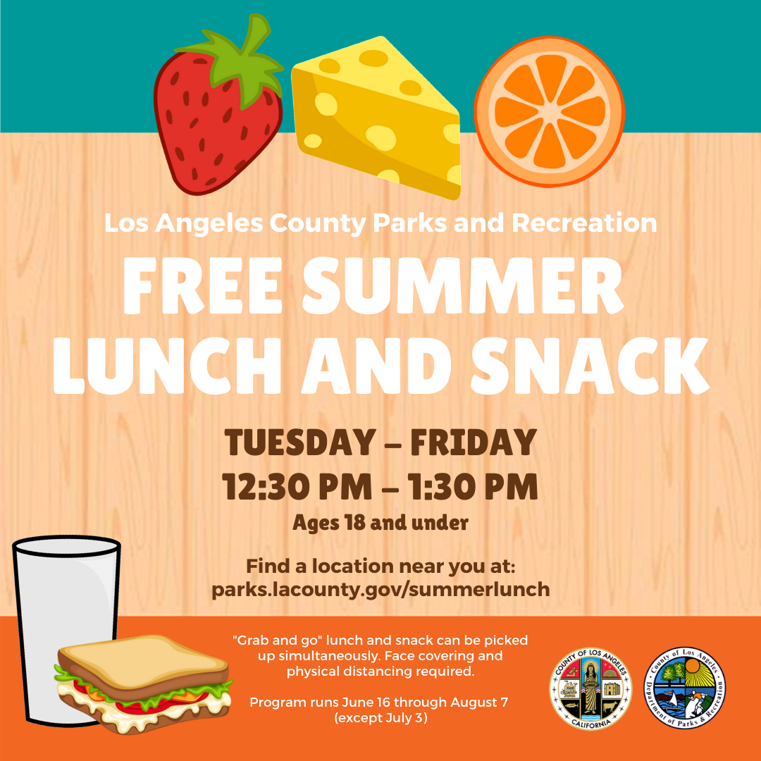 free summer lunch and snack los angeles la county parks and recreation covid coronavirus